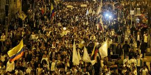 University student in Bogota march on Wednesday for a resolution to the rejected peace accords