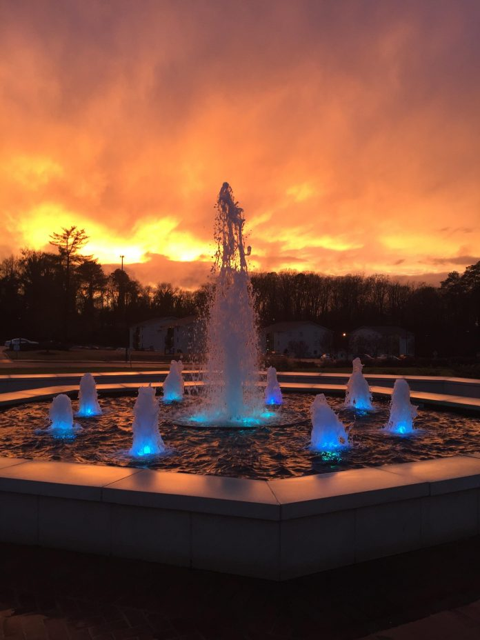 Lander Fountain at Dusk