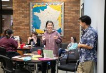 "Students at Lander University mingled with professors from the Department of English and Foreign Languages during the department's ""Cliff Notes"" social"