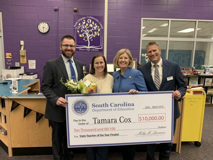 Superintendent Spearman Announces Wren High School's Tamara Cox as Teacher of the Year Finalist