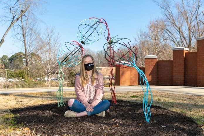 Brianna Clayton, of Greenwood, won second place in the campus spirit category of the PBC Juried Art Exhibit, with a sculpture titled