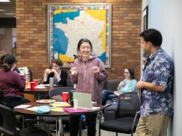 """Students at Lander University mingled with professors from the Department of English and Foreign Languages during the department's """"Cliff Notes"""" social"""
